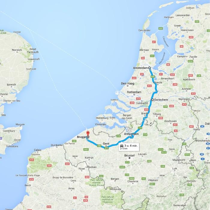 Amsterdam, Nederland naar Brugge - Google Maps