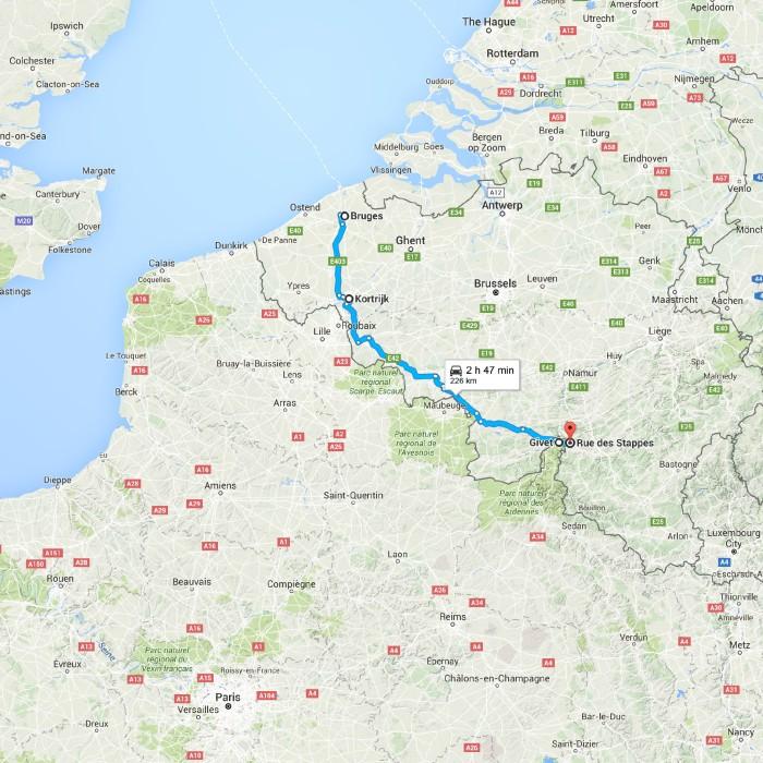 Bruges, Belgium to Rue des Stappes, 5570 Beauraing, Belgium - Go