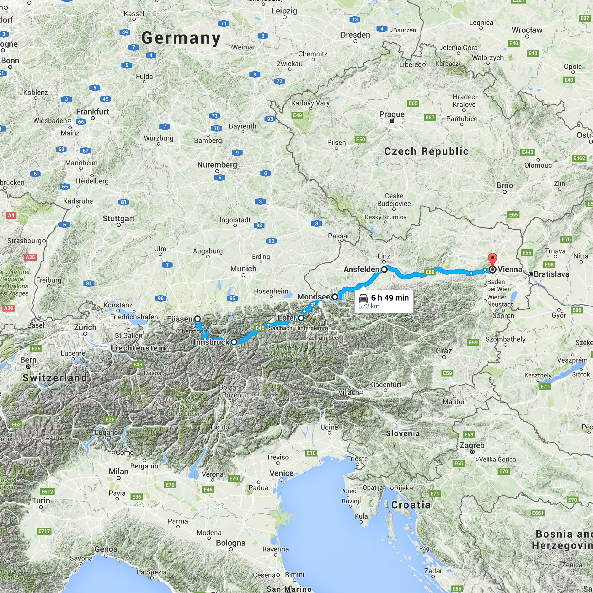 Map Of Germany Google.Fussen Germany To Vienna Austria Google Maps Trailing Horizons