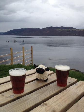 Scotty enjoying a well earned pint at Loch ness