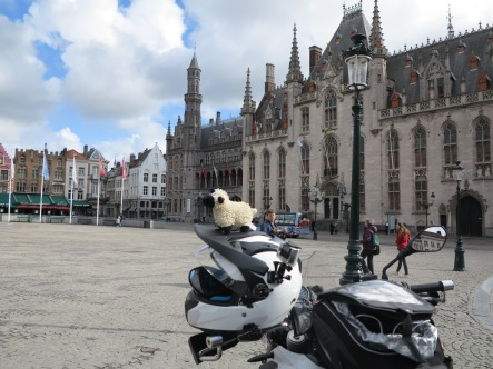 Scotty in Bruges on the helmet leading the way...