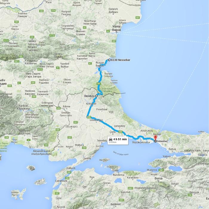 8230 Nessebar, Bulgaria to Istanbul, İstanbul, Turkey - Google