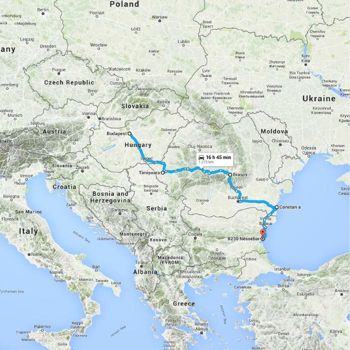 Budapest, Hungary to Nesebar, Bulgaria - Google Maps
