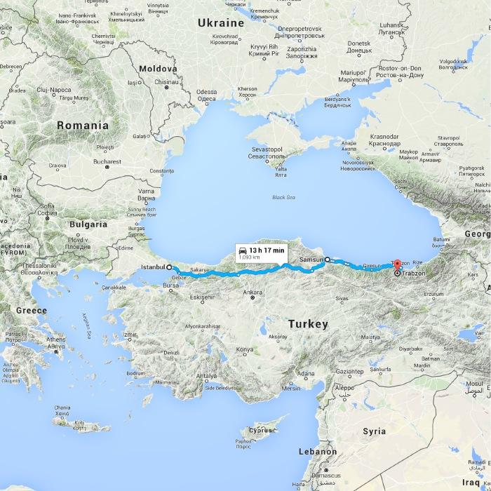 Istanbul, İstanbul, Turkey to Trabzon, Turkey - Google Maps