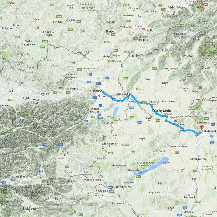 Vienna, Austria to Budapest, Hungary - Google Maps