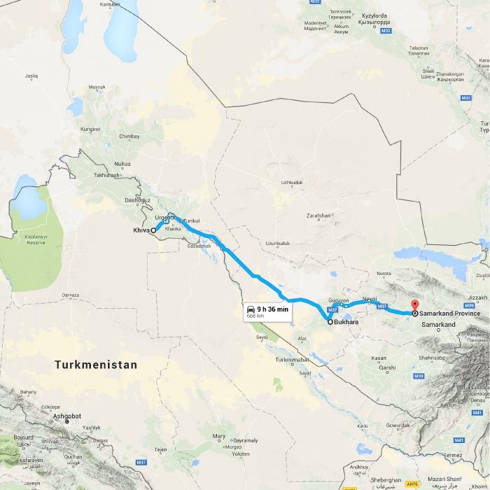Khiva, Uzbekistan to Samarkand Province, Uzbekistan - Google Map