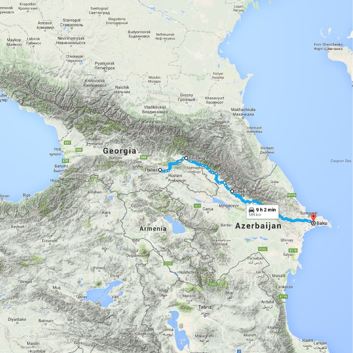 Tbilisi, Georgia to Baku, Azerbaijan - Google Maps