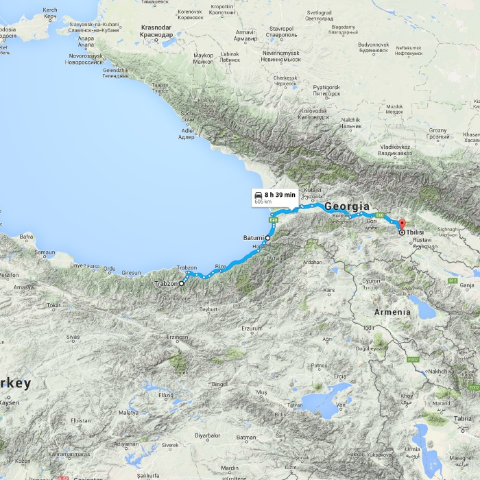 Trabzon, Turkey to Tbilisi, Georgia - Google Maps
