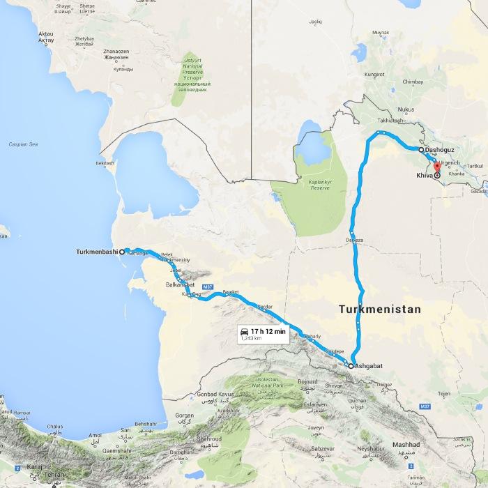 Turkmenbashi, Turkmenistan to Khiva, Khorezm Province, Uzbekista