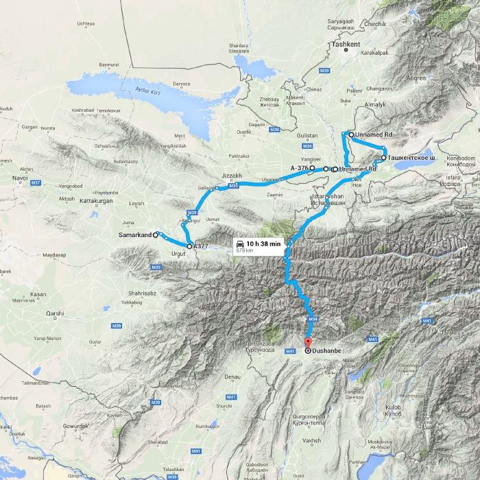 Samarkand, Uzbekistan to Dushanbe Душанбе - Google Maps