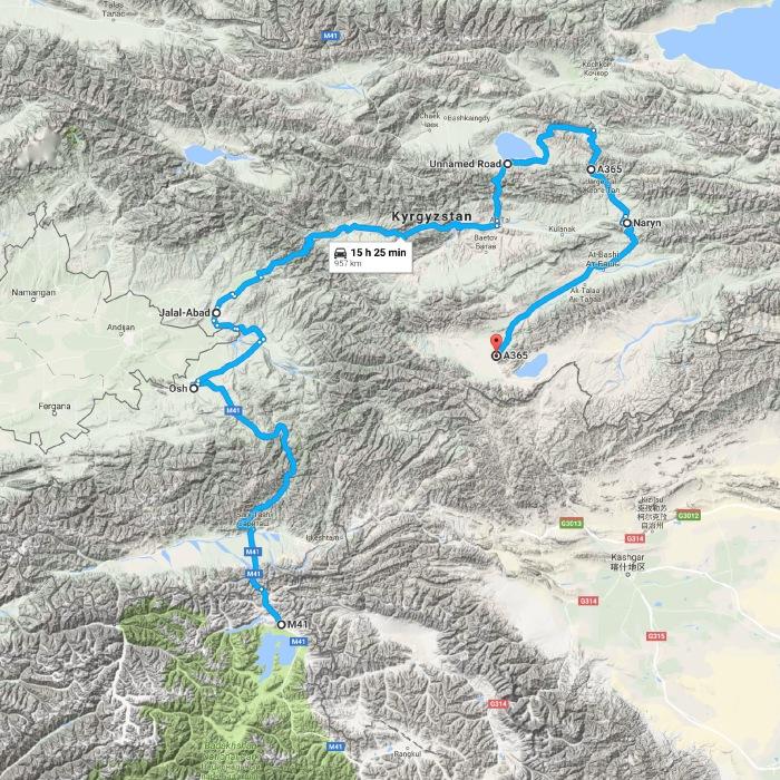 M41, Tajikistan to A365, Kyrgyzstan - Google Maps